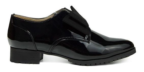 Trender Bostonianos Color Negro Charol Con Moño