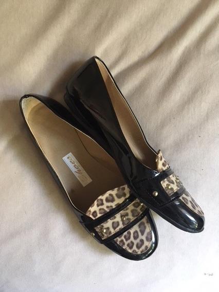 Zapatos Sin Taco Num, 36 Animal Print Y Charol , Exc, Estado