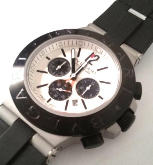 Relógio Bvllgari Titanium Funcional Bataria Borracha 254
