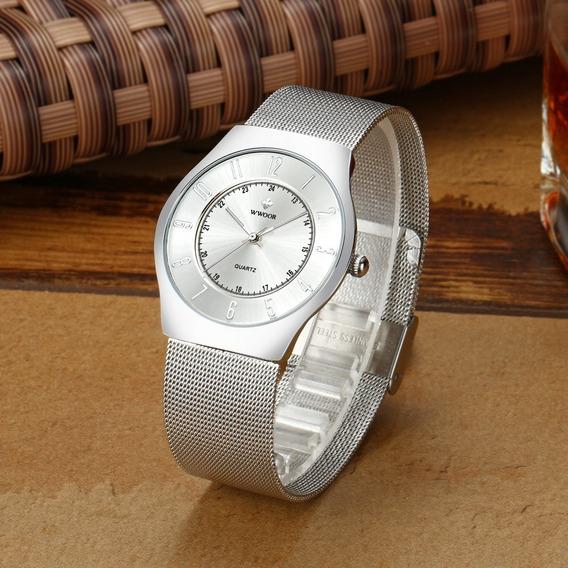Relógio Wwoor Ultra Fino Slim Luxo Na Caixa + Cartão