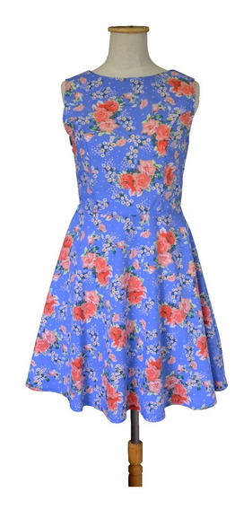 Vestido Pin Up Retro Floreado Tipo Jackie Celeste Escote V