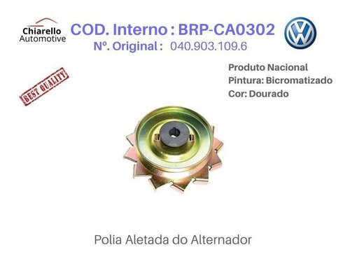 Polia Aletada Do Alternador Fusca  Kombi  Brasília 1300 1600