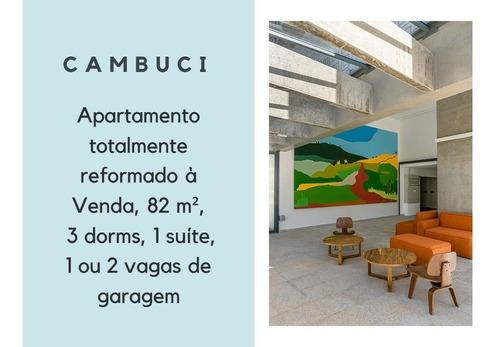 Imagem 1 de 25 de Apartamento À Venda No Cambuci Totalmente Reformado, 82 M², 3 Dorms, 1 Suíte, 1 Ou 2 Vagas De Garagem - 186