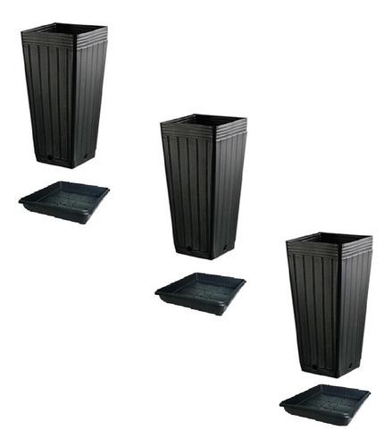 Imagem 1 de 1 de Kit 3 Vasos 7l + 3 Pratos Nutriplan