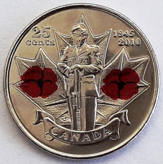 Canadá Moneda Año 2010 De 25 Cents Esmaltada Sin Circular