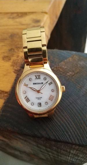 Relógio Seculus Dourado, Feminino.