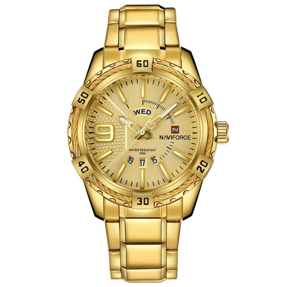 Naviforce Dourado Relogios 9117 Top Luxo-masculino