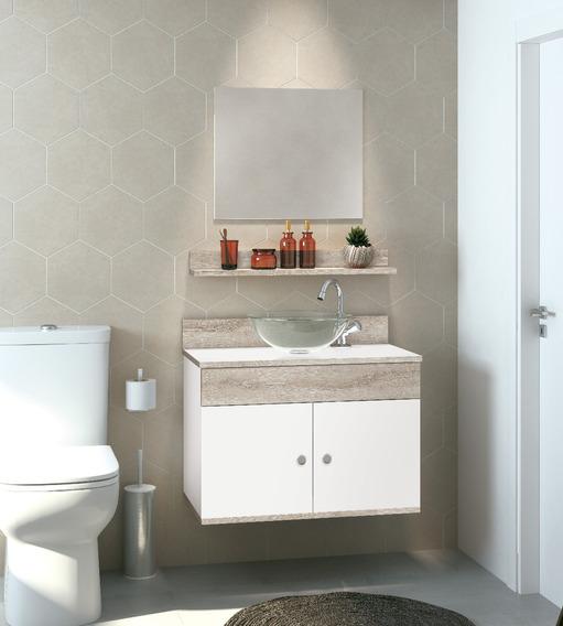 Gabinete Armário Para Banheiro 60 Cm - Kit Completo Gabinete + Cuba + Prateleira + Espelho