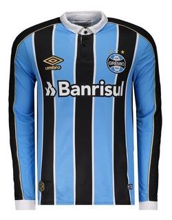 Camiseta Manga Longa Grêmio Umbro Oficial 1 2019 Tricolor
