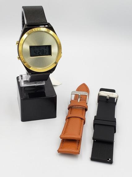 Relógio Feminino Touch Aço Preto Sport Digital + 2 Pulseiras