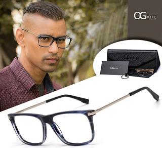 Armação Oculos Ogrife Og 1113-c Masculino Com Lente Sem Grau