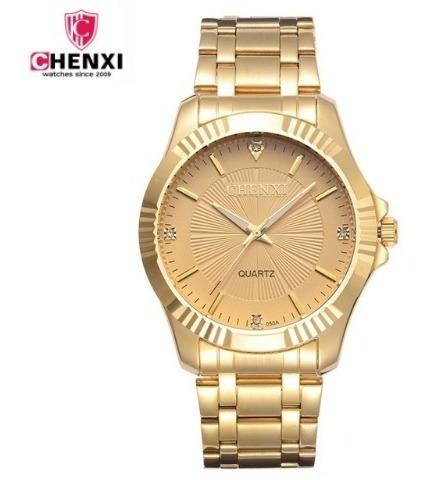 Relógio Analógico Dourado Chenxi