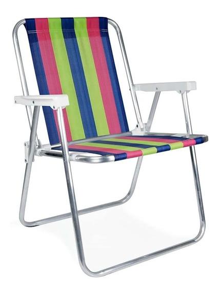 Cadeira Alta Alumínio Praia Camping Dobrável - Mor