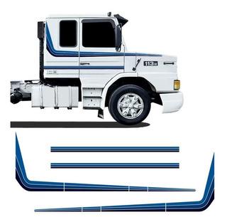 Jogo Faixas Adesivo Scania 113t 113r 1994 Azul Decorativo