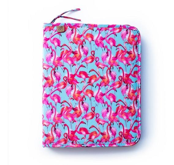 Pasta Fichário A4 Escolar C/bolso 4 Argolas Estampa Flamingo