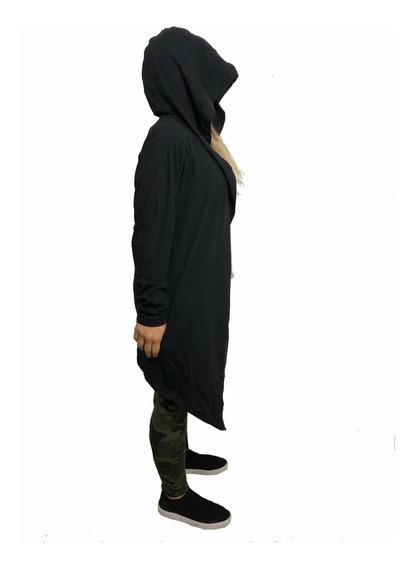 Tapado Capa Larga En Pico Capucha Dark Mujer Algodon Lycra