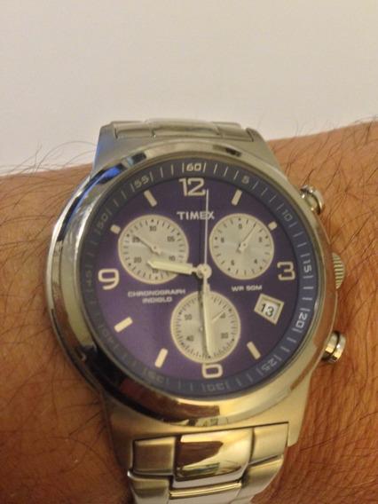 Relógio Timex Chronograph Wr 50m Em Aço Azul