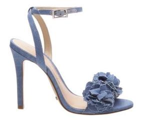 Sandalia Schutz Salto Alto Fino Flores Jeans S0138712010003u