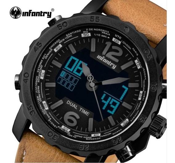 Relógio Masculino De Pulso Militar Rustico Infrantry Led