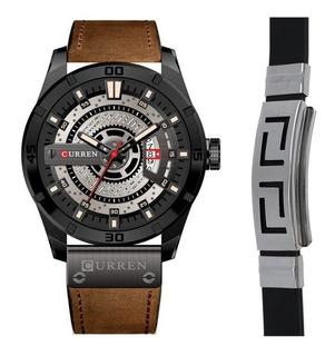 Relógio Masculino Curren Luxo Calendário + Pulseira Metal
