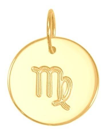 Imagem 1 de 5 de Pingente Ouro 18k Medalha Signo Virgem 13mm
