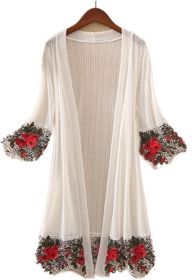 Kimono Cardigan Tule Rendas Bordados Flores Rosa Importado