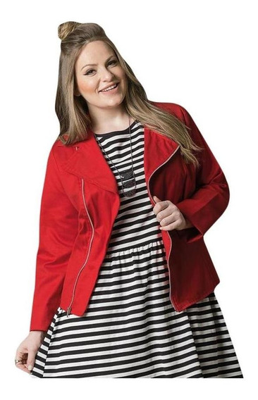 Jaqueta Com Zíper Vermelha Quintess Plus Size