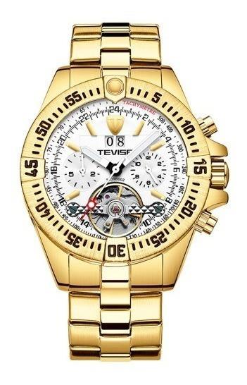 Relógio Tevise Automático Mecânico Inox 839 Original Dourado