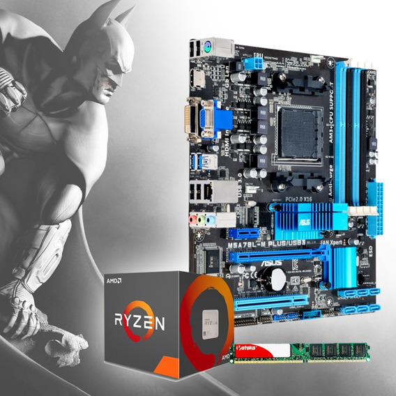 Kit 3x1 Ryzen3 2200g+asus-a320m-k +memoria 8gb Ddr4 Hyperx