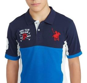 Playera Team Polo Club Azul Geometrica Con Blanco Joven