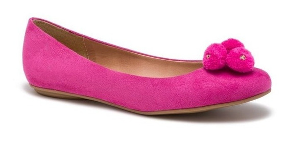 Zapato Andrea Ballerina Flat Rosa Fiusha 2439204 Pompones