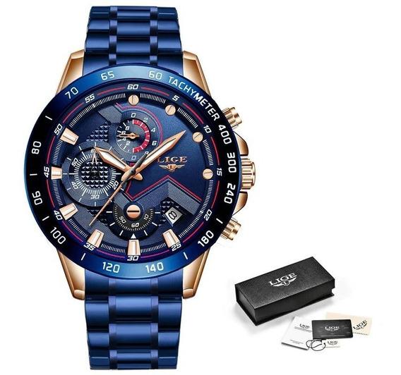 Relógio Masculino Lige Luxo Importado Original Prova D
