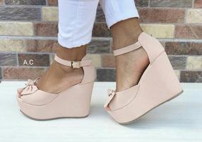 Calzado Para Dama Sandalia Rosada Plataforma Zapatos Mujeres