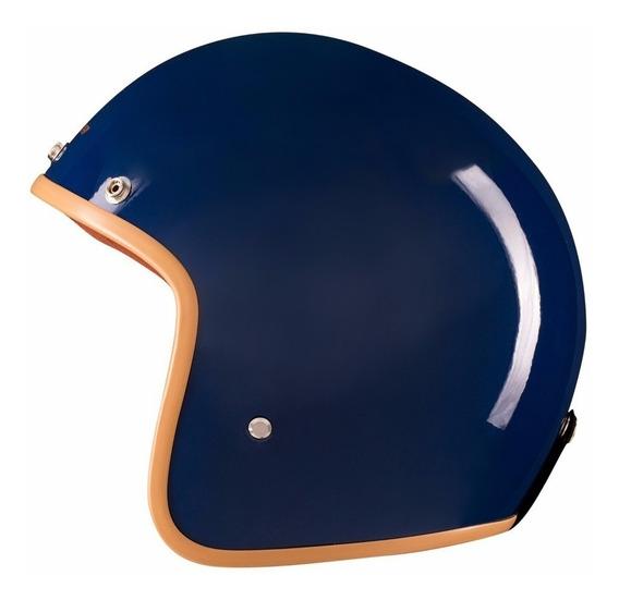 Capacete Lucca Custom Old School Glossy Dark Blue