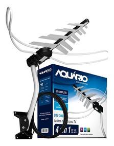 Antena Digital Externa Aquário Dtv-3000 Vhf/uhf Hd Tv 4 Em 1
