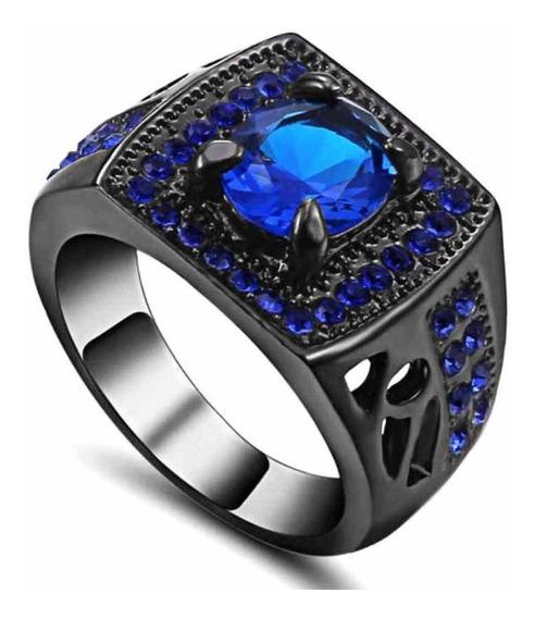 Aro 21 Anel Formatura Masculino Curso Safira Azul Titâno 462