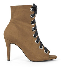 Zapatos Botines Dama Cintas Cafes Moda Casual 8320