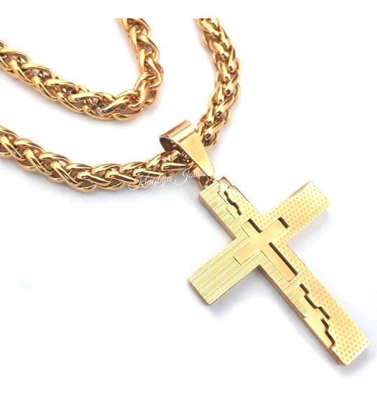 Crucifixo Grande+ Corrente 70cm+ Pulseira Grosso Aço Banhado