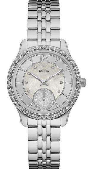 Relógio Feminino Guess Prata Strass Original 92634l0gdna1