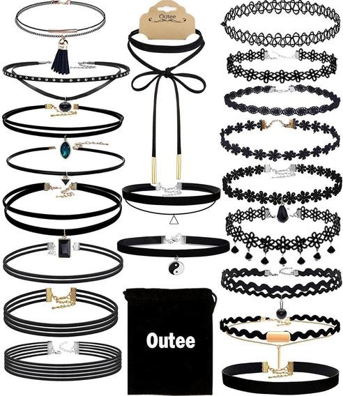 20 Piezas Gargantillas Collar De Moda Terciopelo