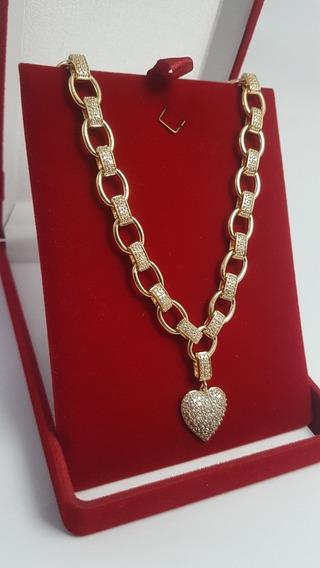 Colar Luxo Cravejado Pingente Coração Semi Jóia Banhada Ouro