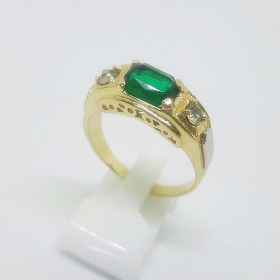 Anel Formatura Pedra Verde Banhado A Ouro 18k