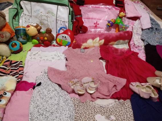 Lote De Roupas Sapatinhos E Brinquedos Bebê Menina 70 Peças