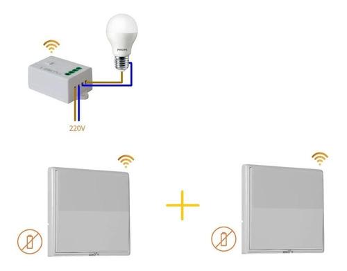 2 X Llave De Luz 1 Punto Inalambrica Interruptor 2bk No Wifi
