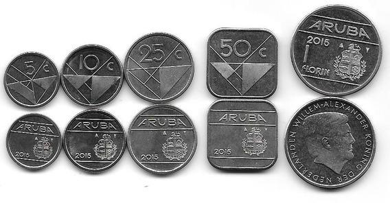 Serie De 5 Monedas Aruba Año 2015 Sin Circular