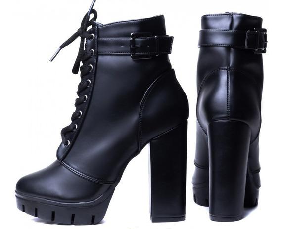 Bota Ankle Boot Feminina Preto Com Cadarço Torricella