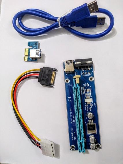 Kit Placa Riser Pci-e Usb 3.0 Extensor Mineração Bitcoin 007