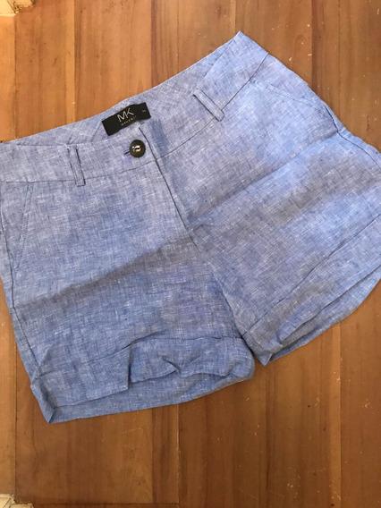 Shorts Alfaiataria Em Linho Makenji - Azul - 34