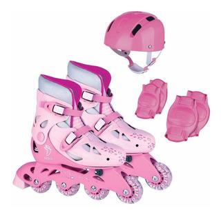 Patins Roller In-line Rosa 34 A 37 Menina + Kit Proteção