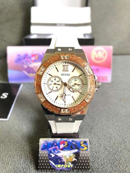 Relógio Guess W1053l2 Branco Original Completo Com Caixa